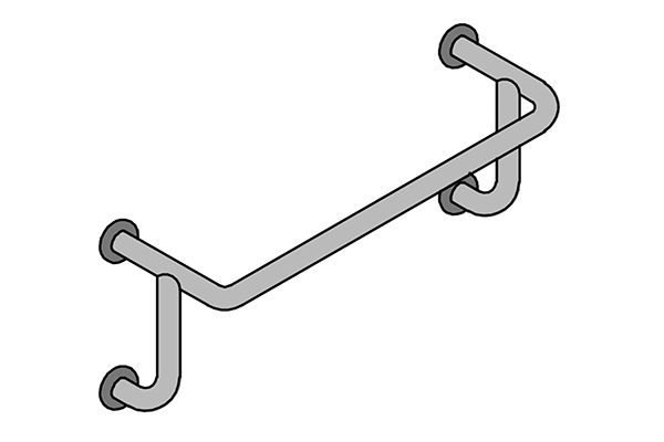 C26-C26B – Horizontal Tub Rail with Outrigger